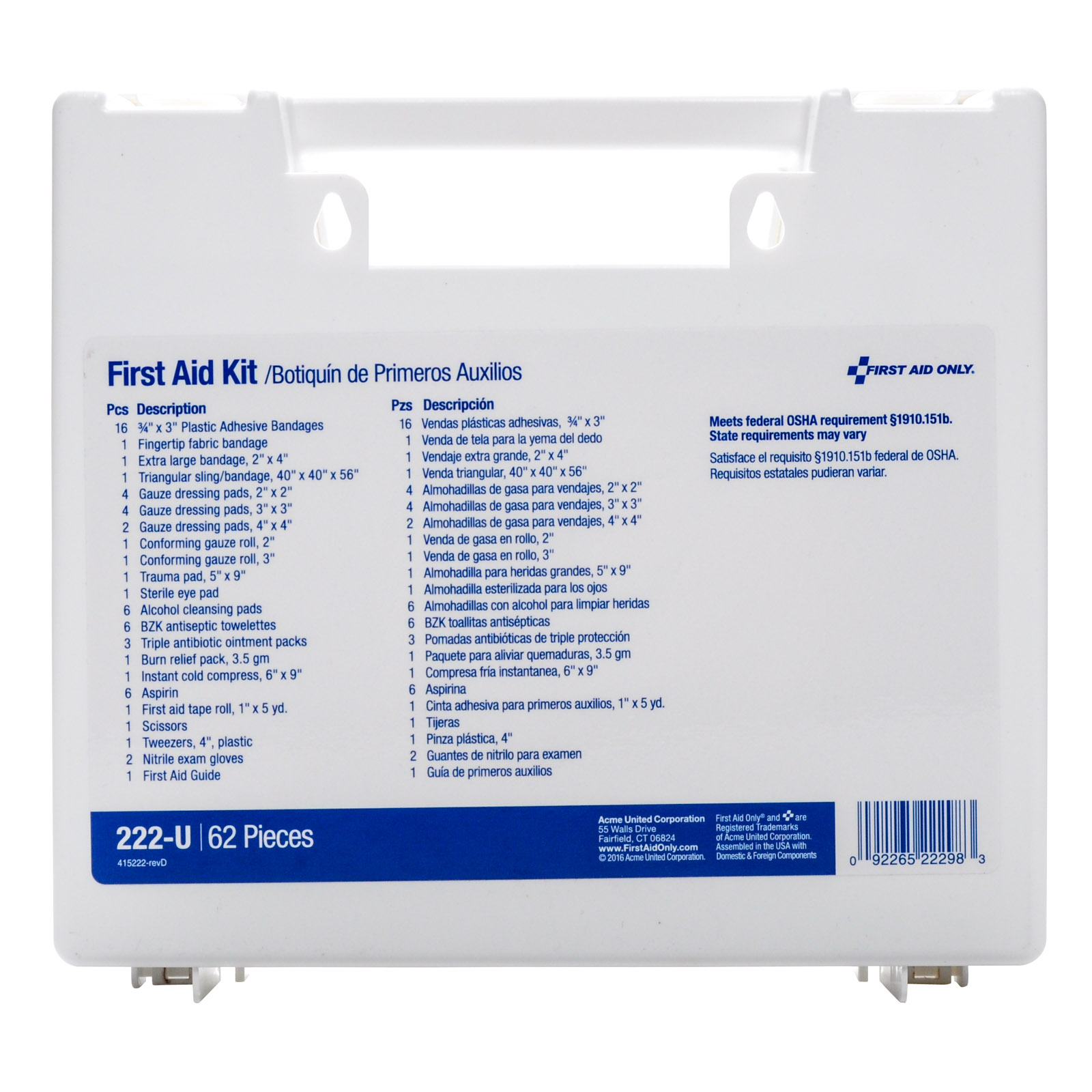 First Aid Only #222-u 10 Person First Aid Kit | MFASCO